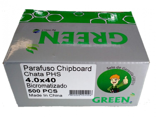 PARAFUSO 4 x 40mm CH CX C/ 500 GREEN