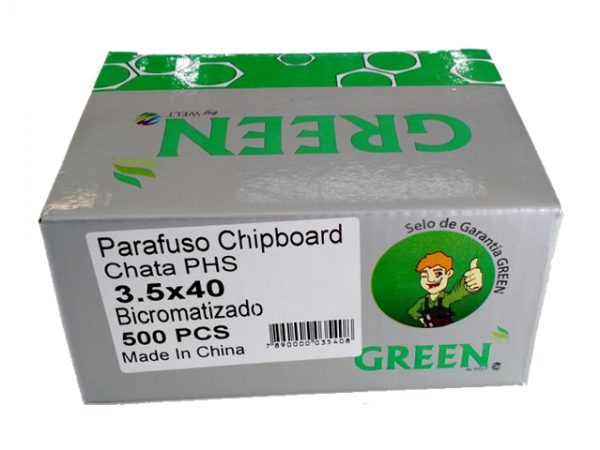 PARAFUSO 3,5 x 40mm CH CX C/ 500 GREEN