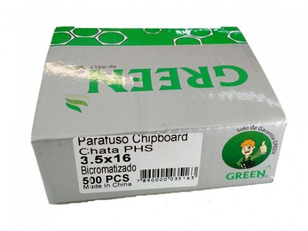 PARAFUSO 3,5 x 16mm CH CX C/ 500 GREEN