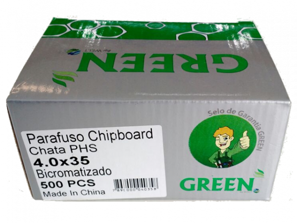 PARAFUSO 4 x 35mm CH CX C/ 500 GREEN