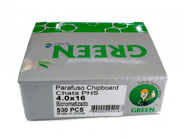 PARAFUSO 4 x 16mm CH CX C/ 500 GREEN
