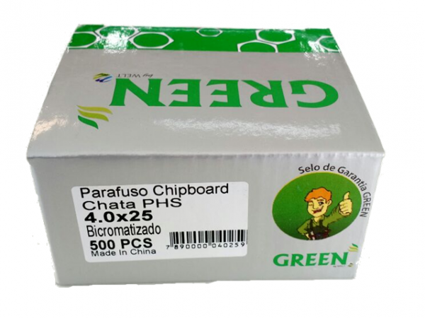PARAFUSO 4 x 25mm CH CX C/ 500 GREEN