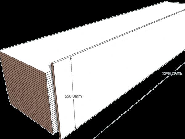 PAINEL 55 MDF BRANCO 15mm 1 LADO FITADO 2,74 x 0,55