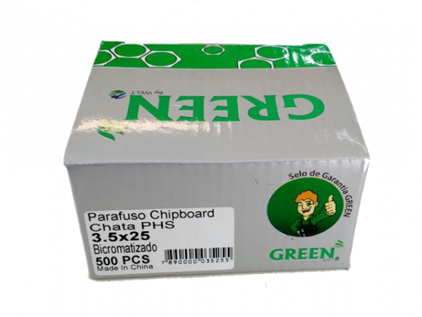 PARAFUSO 3,5 x 25mm CH CX C/ 500 GREEN